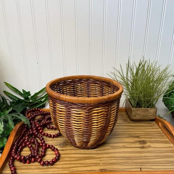 Vintage Woven Wicker BOHO Planter Basket